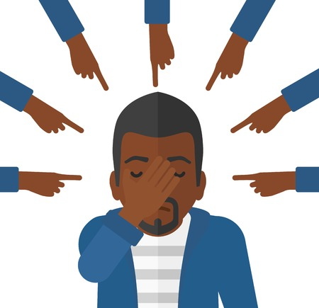 betrayal: Guilty an african-american man looking down covering face with his hand and many fingers around pointing at him vector flat design illustration isolated on white background.