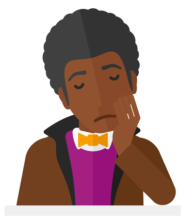miserable: An african-american depressed man vector flat design illustration isolated on white background. Illustration