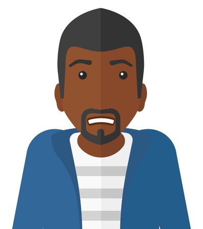 awkwardness: Embarrassed an african-american man vector flat design illustration isolated on white background.