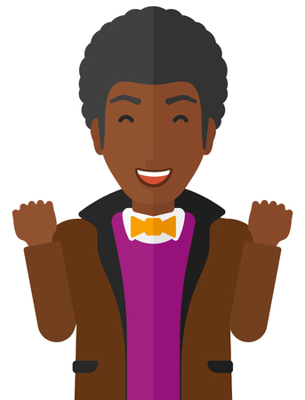euphoria: Cheerful an african-american man in euphoria with raised hands and closed eyes vector flat design illustration isolated on white background.