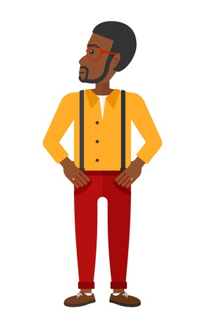 satisfied expression: An african-american man proud of himself vector flat design illustration isolated on white background. Illustration