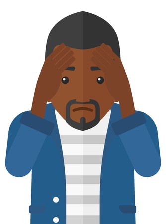 regret: Repentant an african-american man clutching his head vector flat design illustration isolated on white background. Illustration