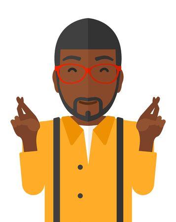 Hopeful een Afro-Amerikaanse man houden de vingers gekruist en de ogen gesloten vector platte ontwerp illustratie op een witte achtergrond.
