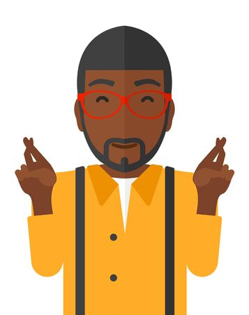 Hopeful an african-american man keeping fingers crossed and eyes closed vector flat design illustration isolated on white background.