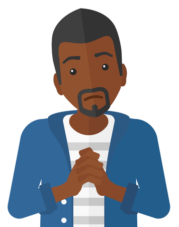 clasped hands: Regretful an african-american man with clasped hands vector flat design illustration isolated on white background.