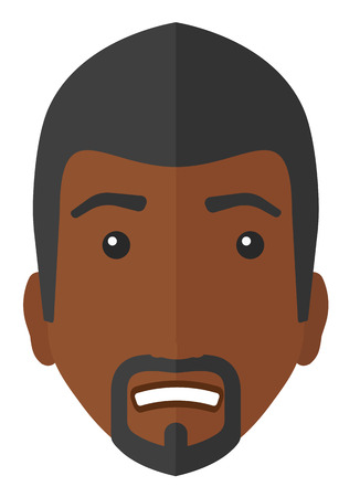 Embarrassed african man with the beard vector flat design illustration isolated on white background.