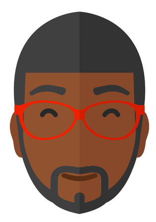 Pleased man in glasses with his eyes closed vector flat design illustration isolated on white background.