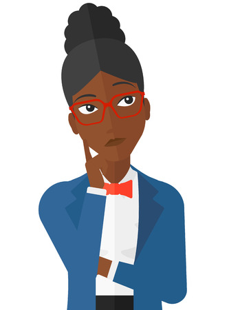 person thinking: Doubtful an african-american woman vector flat design illustration isolated on white background.