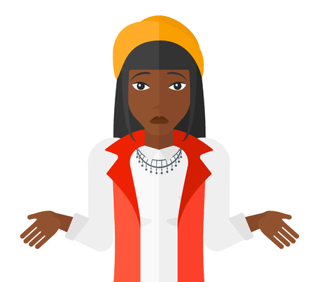 Confused an african-american woman shrugging her shoulders vector flat design illustration isolated on white background. Illustration