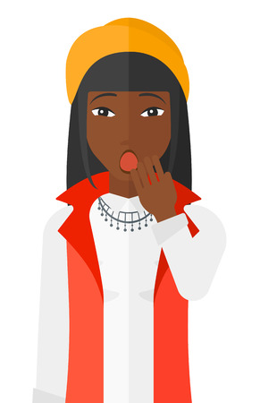 Apathetic an african-american woman yawning vector flat design illustration isolated on white background.