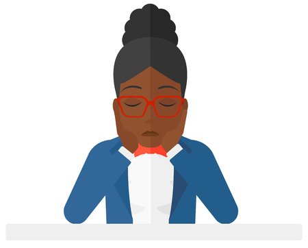 Anxious an african-american woman clutching her head  Illustration