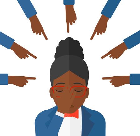 Culpable de una mujer afroamericana mirando hacia abajo cubre la cara