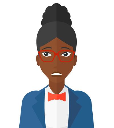 メガネ ベクトル フラット デザイン イラスト白い背景で隔離のアフリカ系アメリカ人女性の恥ずかしい。