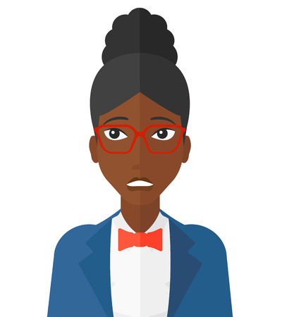 Embarrassed an african-american woman in glasses vector flat design illustration isolated on white background.
