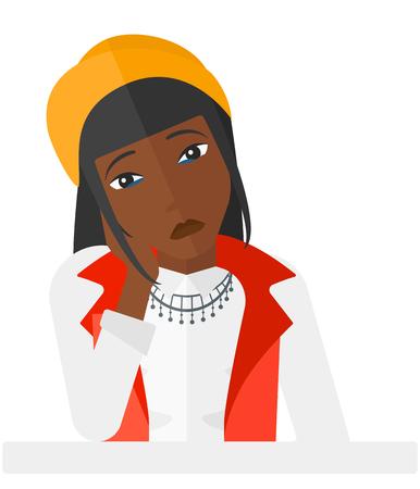 Duelo una mujer afroamericana sosteniendo su cabeza apoyada en su mano vector diseño plano ilustración aislado sobre fondo blanco.