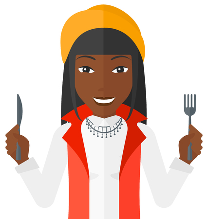eating lunch: Hungry an african-american woman with fork and knife raised vector flat design illustration isolated on white background.