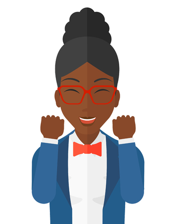 euphoria: Cheerful an african-american woman in euphoria with raised hands and closed eyes vector flat design illustration isolated on white background.