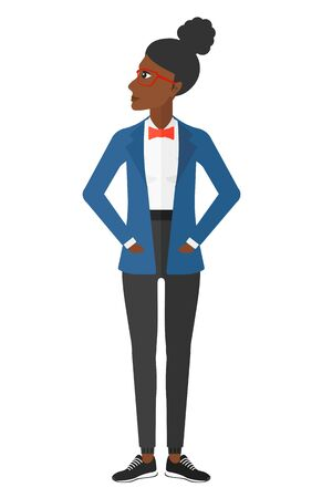An african-american woman proud of herself vector flat design illustration isolated on white background.