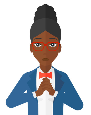 regretful: Regretful an african-american woman with clasped hands vector flat design illustration isolated on white background.