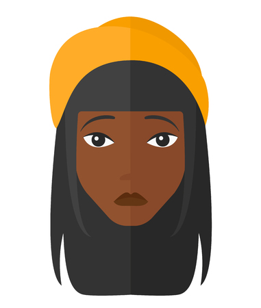 restless: Young depressed an african-american woman vector flat design illustration isolated on white background. Illustration