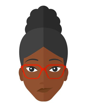 african woman face: Envious an african-american woman in glasses vector flat design illustration isolated on white background.
