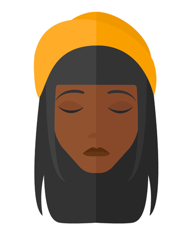 grieving: Grieving woman with eyes closed vector flat design illustration isolated on white background.
