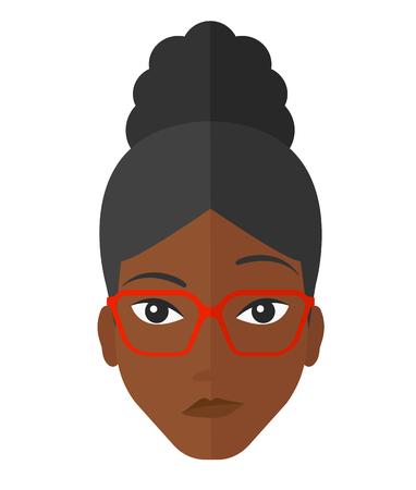 envious: Envious an african-american woman in glasses vector flat design illustration isolated on white background.