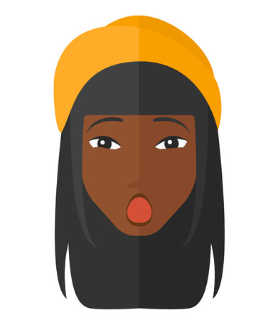 woman open mouth: Scared an african-american woman with open mouth vector flat design illustration isolated on white background.