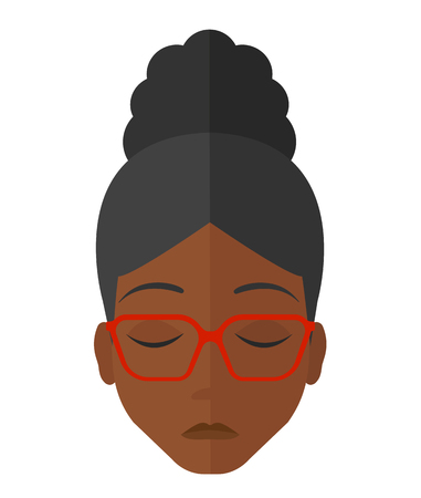 grieving: Grieving an african-american woman with eyes closed vector flat design illustration isolated on white background.