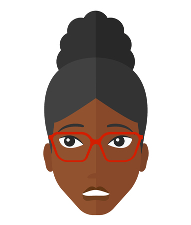 An african-american embarrassed woman vector flat design illustration isolated on white background. 일러스트