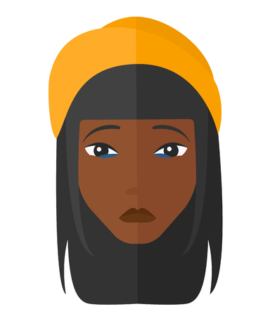restless: An african-american depressed woman vector flat design illustration isolated on white background. Illustration