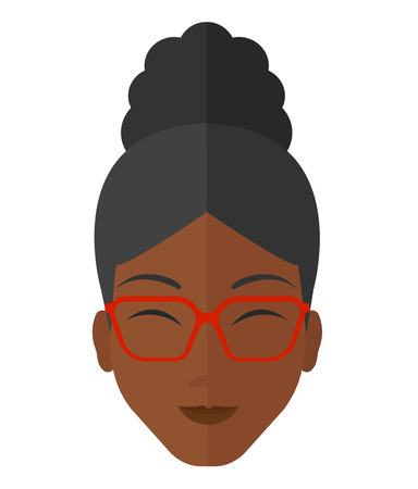 eye glasses: Pleased woman with her eyes closed vector flat design illustration isolated on white background.