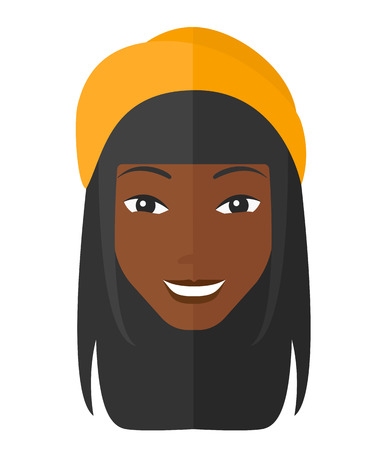 toothy smile: Smiling happy an african-american woman vector flat design illustration isolated on white background. Illustration