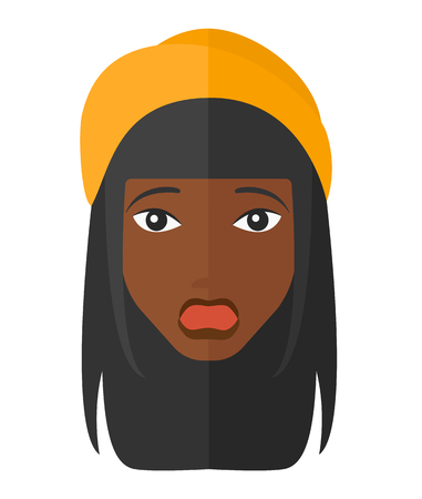 unexpectedness: Scared an african-american woman with open mouth vector flat design illustration isolated on white background.