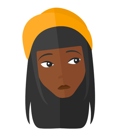 melancholic: An african-american depressed woman vector flat design illustration isolated on white background. Illustration