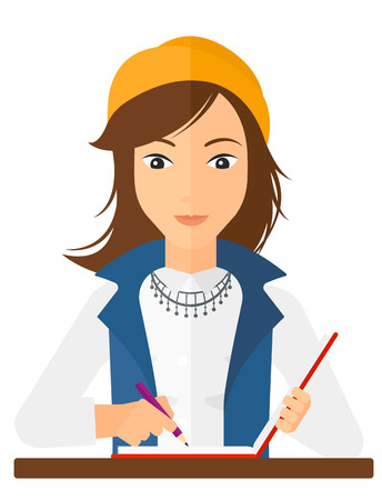 A reporter writing an article in her writing-pad vector flat design illustration isolated on white background.