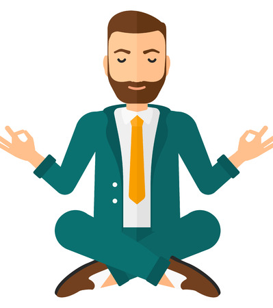 A businessman meditating in lotus pose vector flat design illustration isolated on white background. Square layout.