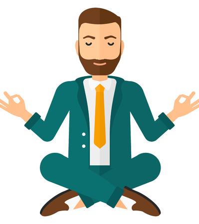 Un hombre de negocios meditando en posición de loto vector de diseño plano ilustración aislado sobre fondo blanco. Diseño Square.