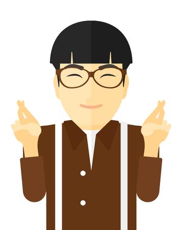 Hoopvolle mens die vingers gekruist en de ogen gesloten vector platte ontwerp illustratie op een witte achtergrond.