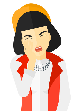 Woman suffering from tooth pain and touching her face vector flat design illustration isolated on white background. Vetores