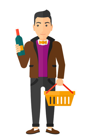 A man with shopping basket holding a bottle of wine and reading a label vector flat design illustration isolated on white background.