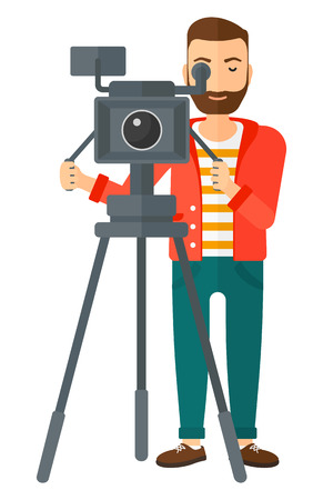 A cameraman looking through movie camera on a tripod vector flat design illustration isolated on white background.