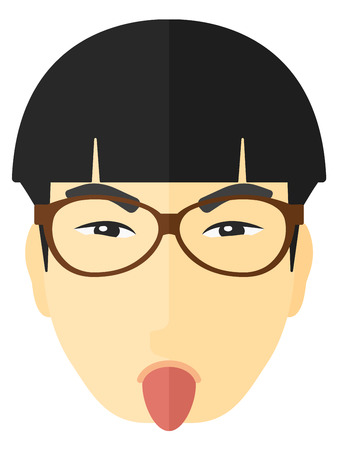 Contemptuous man sticking out his tongue vector flat design illustration isolated on white background. Illustration
