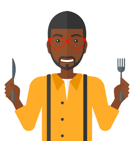 Hungry an african-american man with fork and knife raised vector flat design illustration isolated on white background.