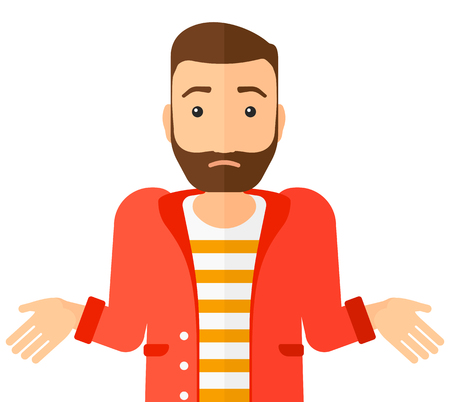 Confused man shrugging his shoulders vector flat design illustration isolated on white background. Horizontal layout. Vettoriali