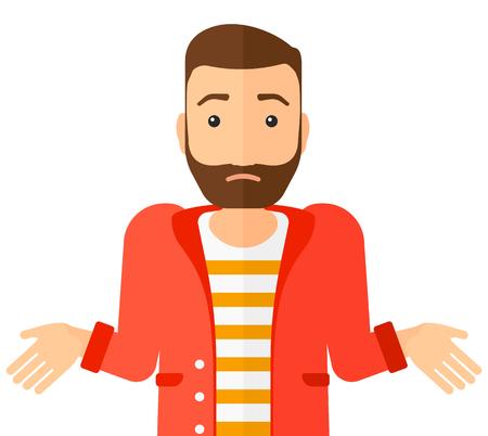 Confused man shrugging his shoulders vector flat design illustration isolated on white background. Horizontal layout. Illustration