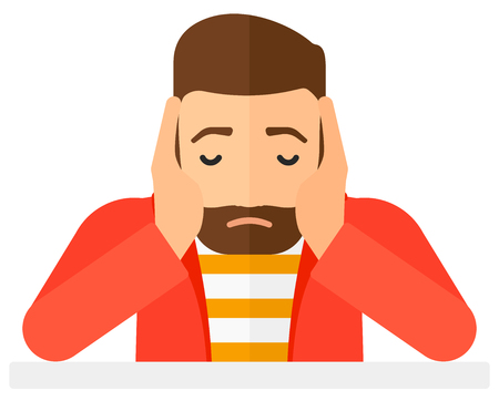 preoccupation: Anxious man clutching his head vector flat design illustration isolated on white background. Horizontal layout.