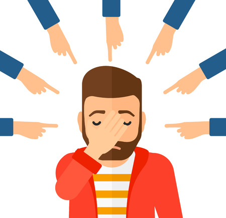 looking down: Guilty man looking down covering face with his hand and many fingers around pointing at him vector flat design illustration isolated on white background. Square layout. Illustration