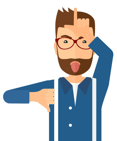 desprecio: hombre despectivo sacando la lengua y mostrando el pulgar hacia abajo signo ilustración vectorial diseño plano aislado en el fondo blanco. disposición vertical. Vectores
