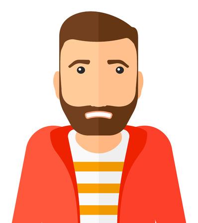 Embarrassé homme hipster avec le vecteur barbe design plat illustration isolé sur fond blanc. Présentation verticale.